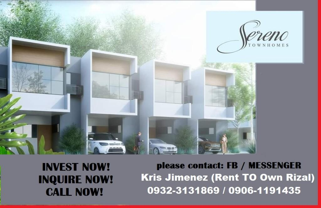 Sereno townhouse 101 FLOOD FREE ONE RIDE FROM ROB  ANTIPOLO